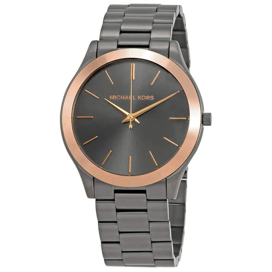 MICHAEL KORS Slim Runway Grey Dial Ladies Gunmetal Watch women watch analog Watches-Direct-SA