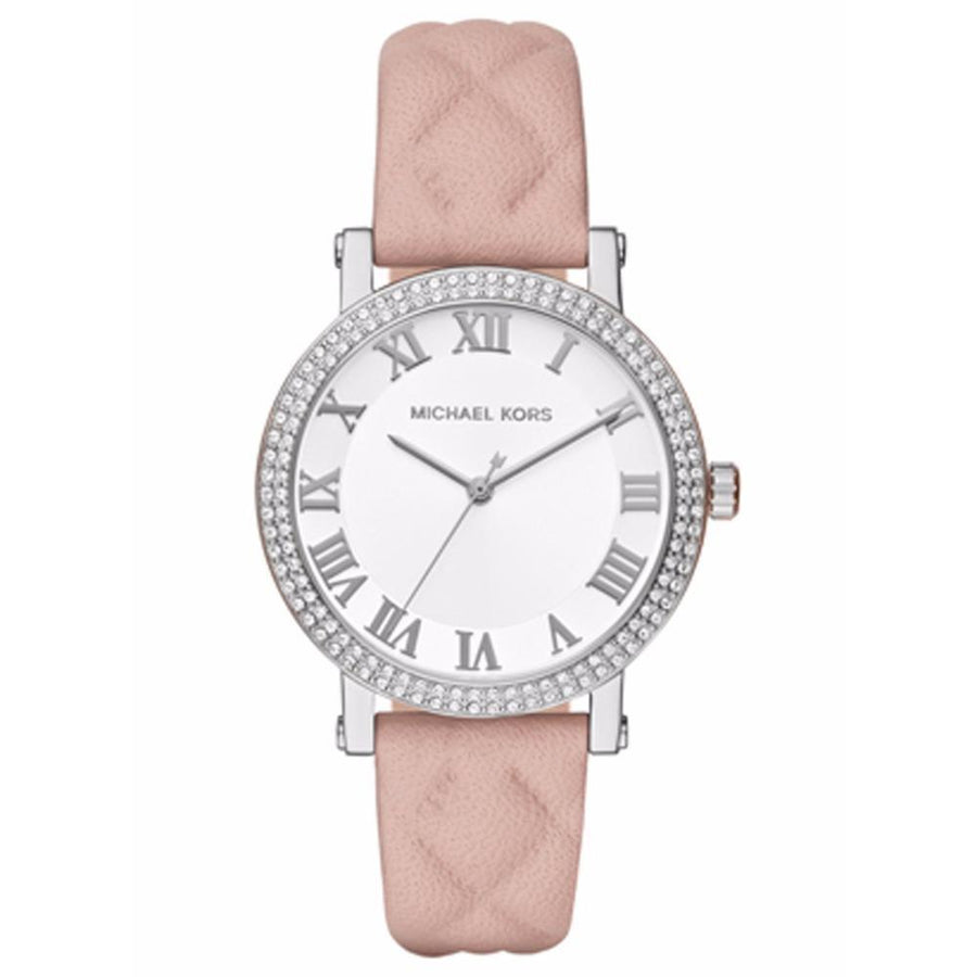 MICHAEL KORS White Sunray Dial Ladies Quilted Leather Watch women watch analog Watches-Direct-SA