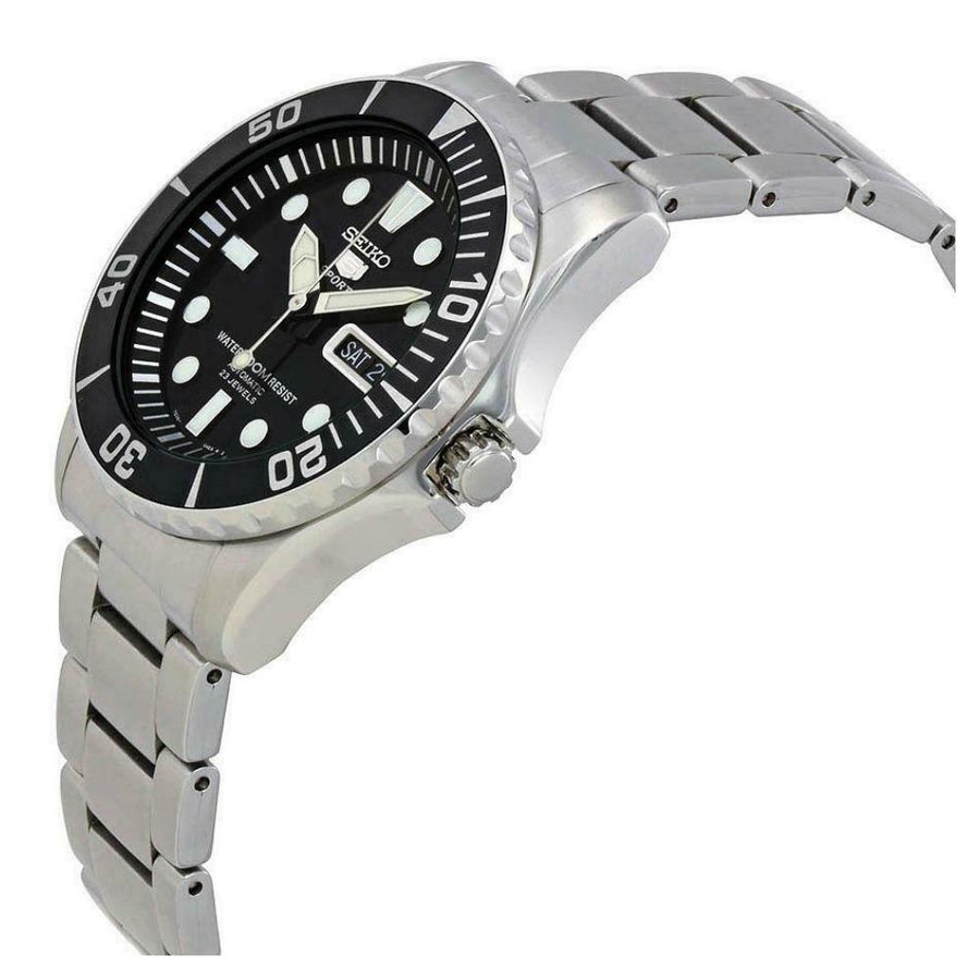 SEIKO 5 Automatic Black Dial Stainless Steel Men's Watch men watch analog Watches-Direct-SA
