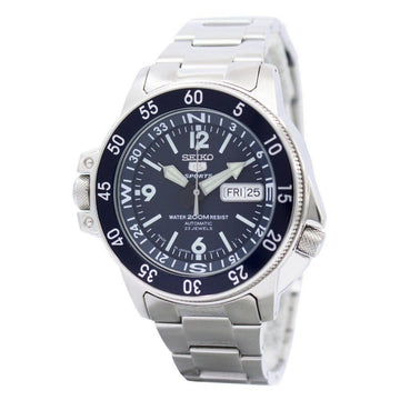 SEIKO 5 Automatic Compass Dark Blue Dial Stainless Steel Men's Watch men watch analog Watches-Direct-SA