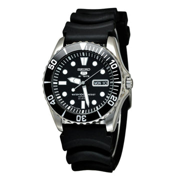 SEIKO 5 Sports Automatic Black Dial Black Rubber Men's Watch men watch analog Watches-Direct-SA