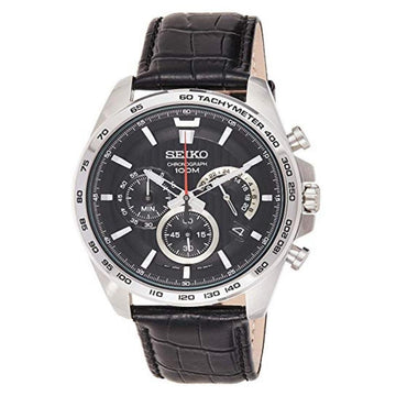 SEIKO Chronograph Black Dial Black Leather Men's Watch men watch analog Watches-Direct-SA