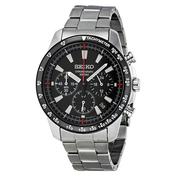 SEIKO Chronograph Black Dial Stainless Steel Men's Watch men watch analog Watches-Direct-SA