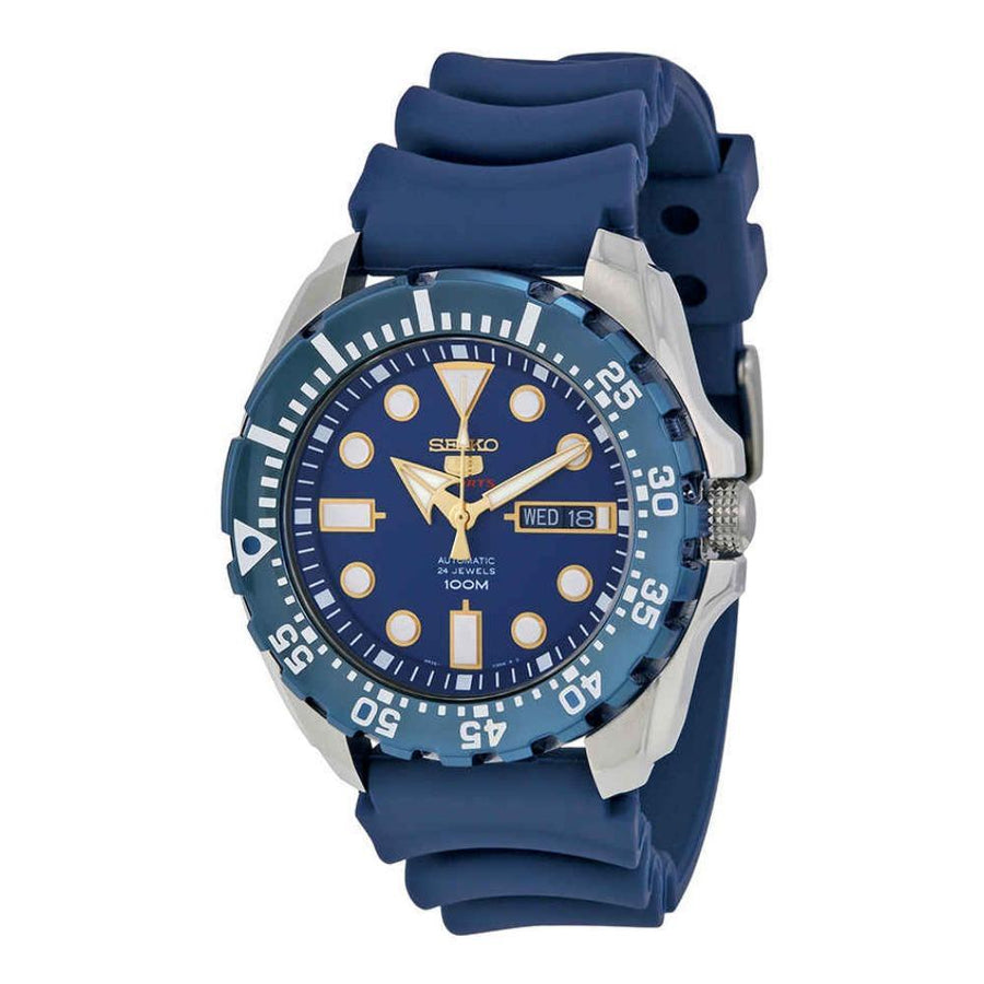 SEIKO Diver Automatic Blue Dial Blue Rubber Men's Watch men watch analog Watches-Direct-SA
