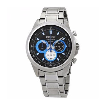 SEIKO Kinetic Chronograph Black Dial Men's Watch men watch analog Watches-Direct-SA