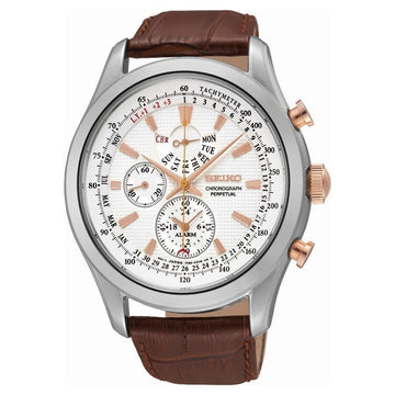 SEIKO Neo Classic Alarm Perpetual Chronograph White Dial Brown Leather Men's Watch men watch analog Watches-Direct-SA