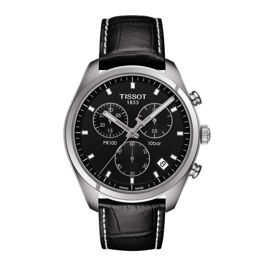 TISSOT PR100 Chronograph Black Dial Black Leather Men's Watch T101.417.16.051.00 men watch analog Watches-Direct-SA