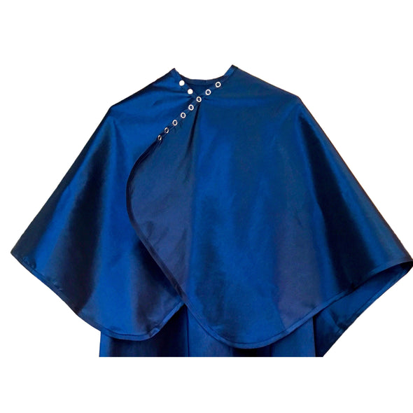 Rear view of large, long navy blue colored shampoo & cutting cape, 8 stainless steel snaps