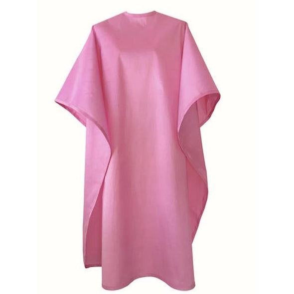 Front view of large, long pink colored shampoo & cutting cape, 8 stainless steel snaps