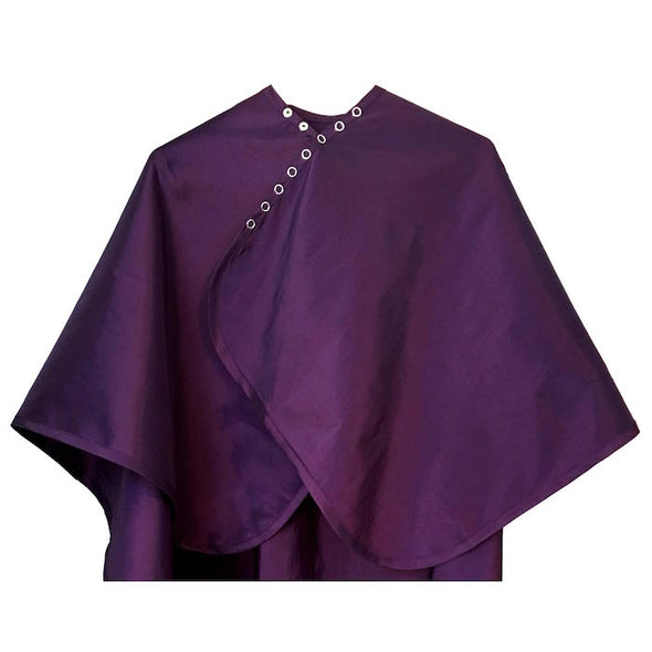 Rear view of large, long dark purple colored shampoo & cutting cape, 8 stainless steel snaps
