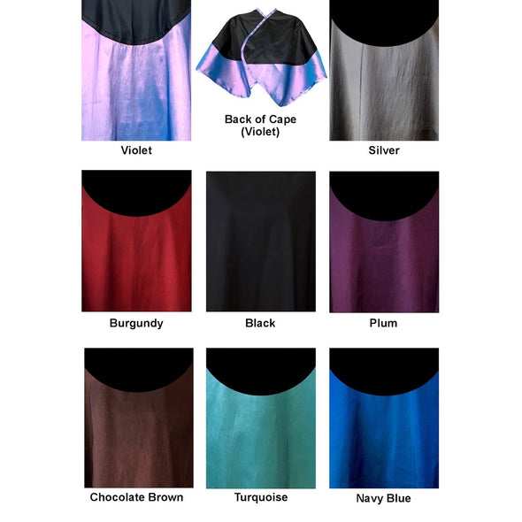 Chemical/cutting cape available in violet, silver, burgundy, black, purple, brown, turquoise, blue.