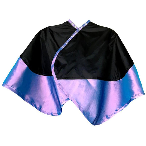 Rear view of large violet chemical/cutting cape with black waterproof bib & water repellent body.