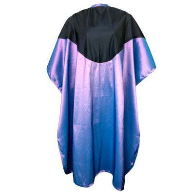 Front view of large violet chemical/cutting cape with black waterproof bib & water repellent body.