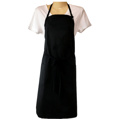 Front view of Black apron with 3 pockets, neck strap, tie around waist. Chemical/bleach safe.