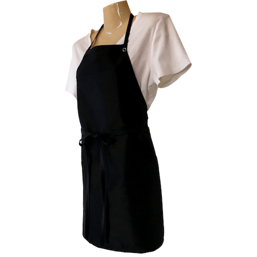 Side view of Black apron with 3 pockets, neck strap, tie around waist. Chemical/bleach safe.
