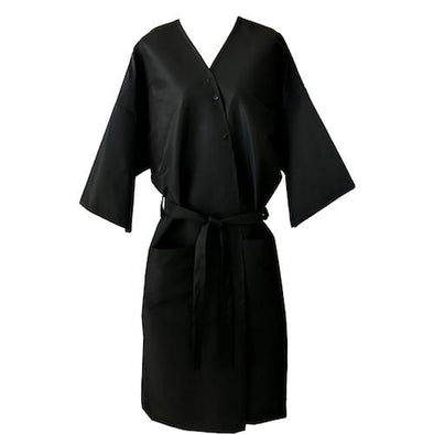 Front view of black client gown that closes in front with 3 stainless steel snaps & belt.