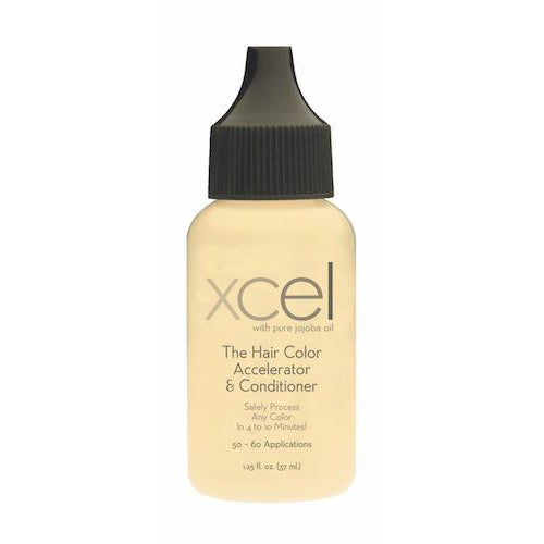 Bottle of Xcel Hair Color Accelerator used to Safely process any brand of hair color in 8-10 minutes