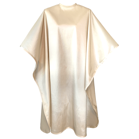 Front view of large, long bamboo colored shampoo & cutting cape, 8 stainless steel snaps