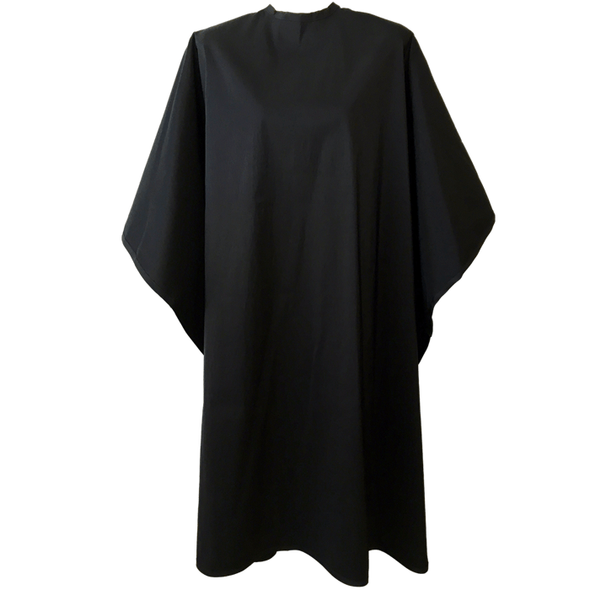 Front view of large, long black colored shampoo & cutting cape, 8 stainless steel snaps