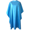 Front view of large, long sky blue colored shampoo & cutting cape, 8 stainless steel snaps