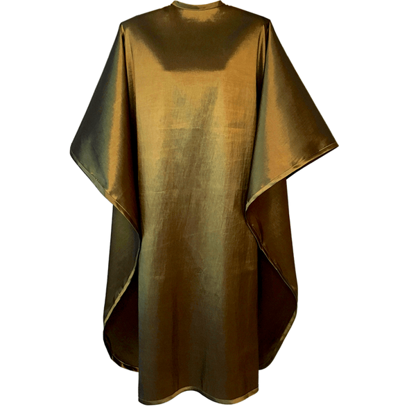 Front view of large, long bronze colored shampoo & cutting cape, 8 stainless steel snaps