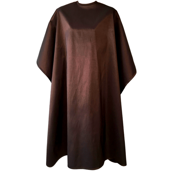 Front view of large, long brown colored shampoo & cutting cape, 8 stainless steel snaps