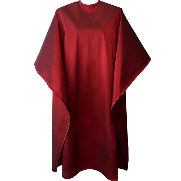 Front view of large, long burgundy colored shampoo & cutting cape, 8 stainless steel snaps