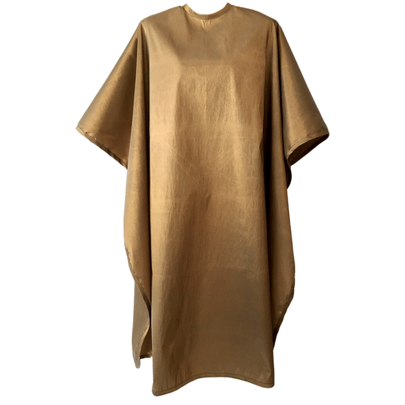 Front view of large, long gold colored shampoo & cutting cape, 8 stainless steel snaps