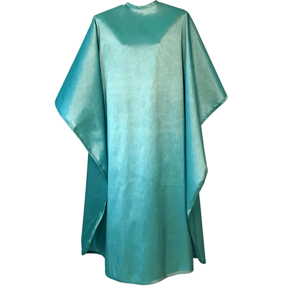 Front view of large, long turquoise colored shampoo & cutting cape, 8 stainless steel snaps