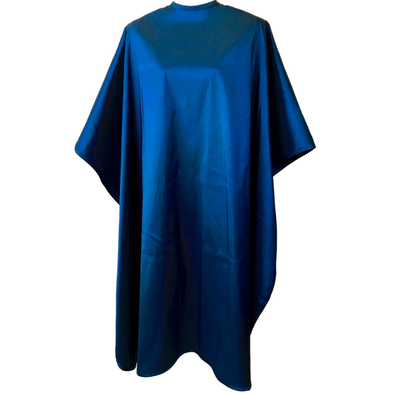 Front view of large, long navy blue colored shampoo & cutting cape, 8 stainless steel snaps