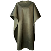 Front view of large, long olive colored shampoo & cutting cape, 8 stainless steel snaps