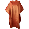 Front view of large, long burnt orange colored shampoo & cutting cape, 8 stainless steel snaps