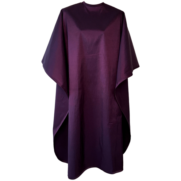 Front view of large, long dark purple colored shampoo & cutting cape, 8 stainless steel snaps