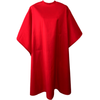 Front view of large, long red colored shampoo & cutting cape, 8 stainless steel snaps