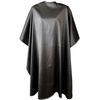 Front view of large, long silver colored shampoo & cutting cape, 8 stainless steel snaps