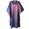 Front view of large, long violet colored shampoo & cutting cape, 8 stainless steel snaps