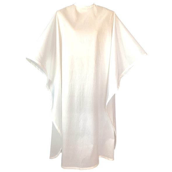 Front view of large, long white colored shampoo & cutting cape, 8 stainless steel snaps