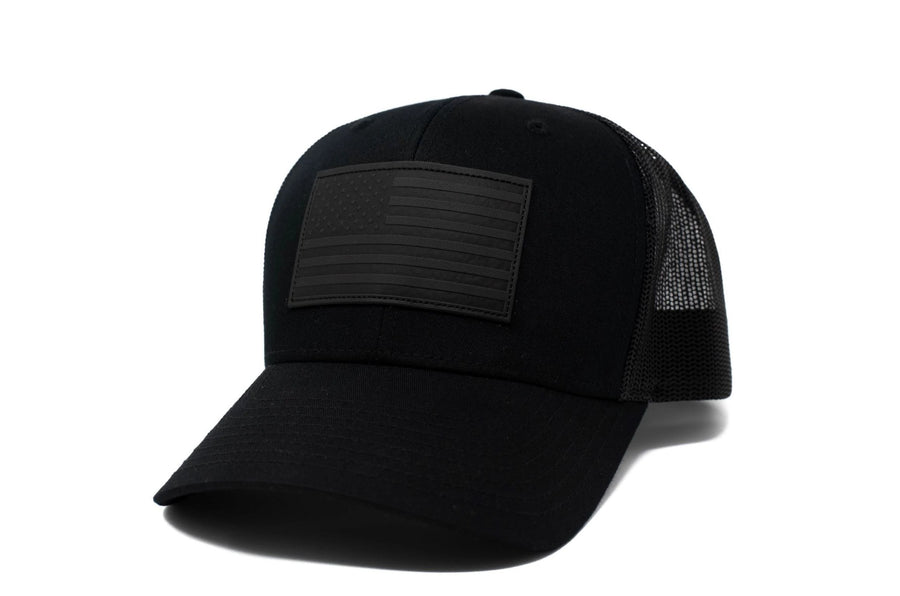 Black trucker hat with black leather American flag patch