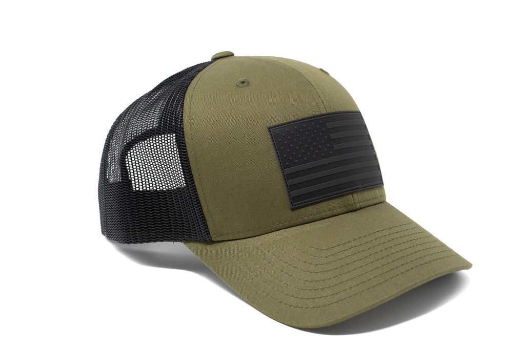 Green trucker hat with black leather American flag patch