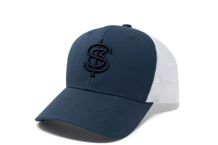 Navy and white trucker hat
