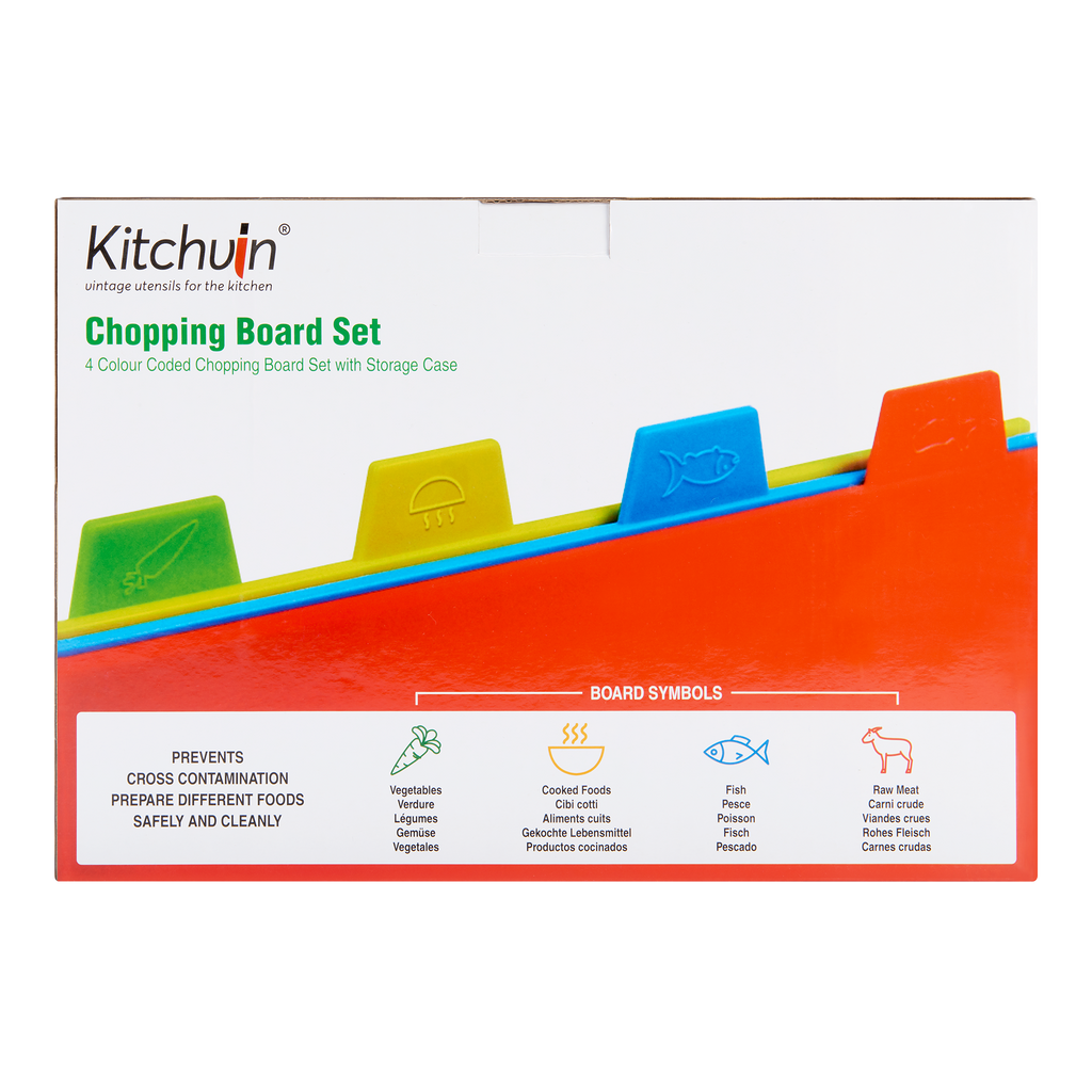 Colour Coded Cutting Boards for Kitchen – 4 Pack with Vertical Storage Case - BPA-Free Knife-Safe Plastic Chopping Board Set  - 30cm x 23cm Large Cutting Boards by Kitchvin®