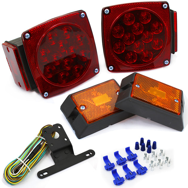12 Volt LED Submersible Universal Mount Combination Trailer Tail Lights Kit