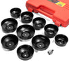 10pc Universal Oil Change Filter Cap Ratchets Wrench Cup Socket Tool Set with Case