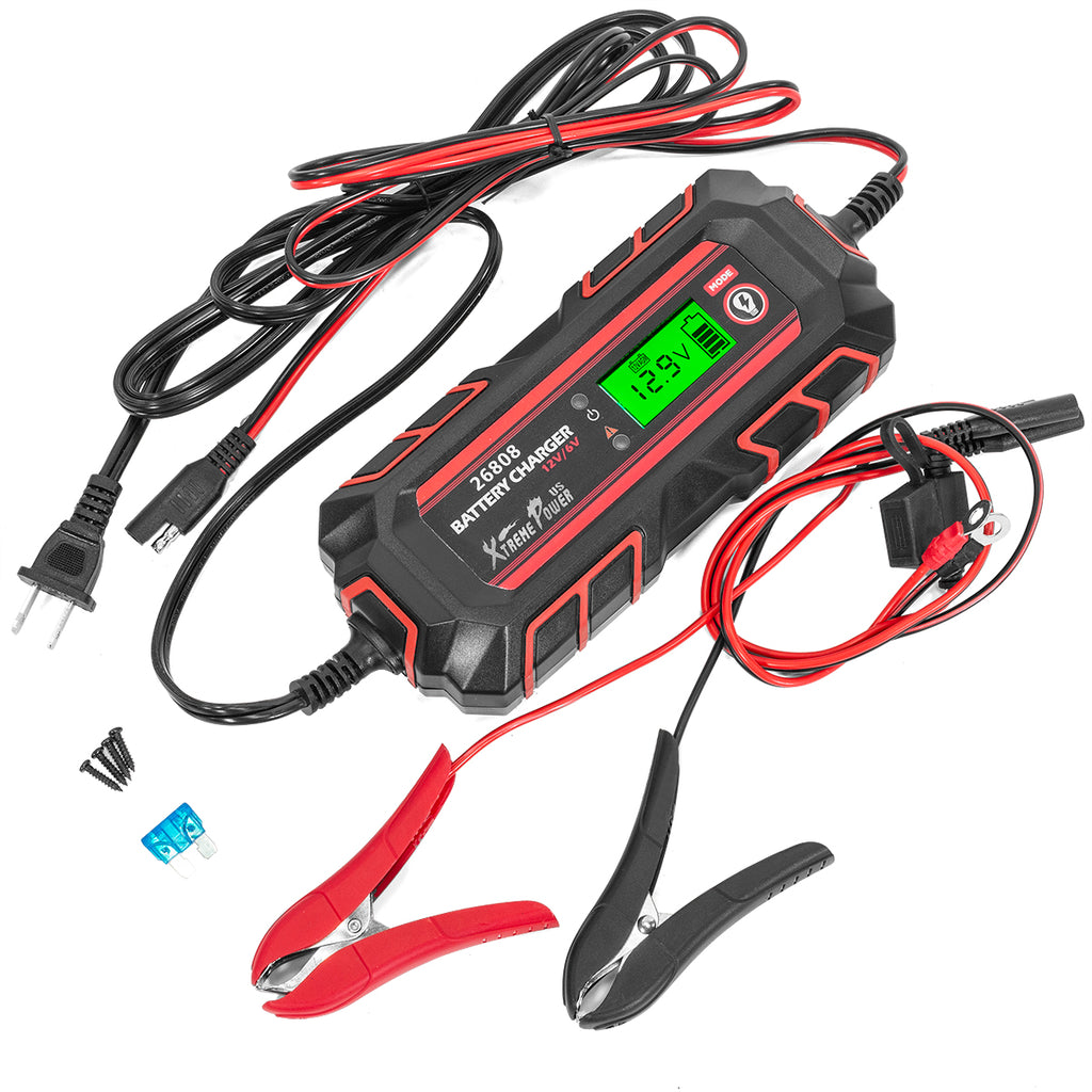 6/12V 4A Battery Charger Maintainer Full Automatic 8-Stages Charging with Battery Clamps