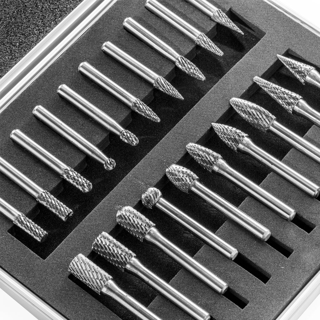 20 Pc Double Cut Carbide Rotary Burr Set Bits Tree Flame Cone Ball Oval Tapered