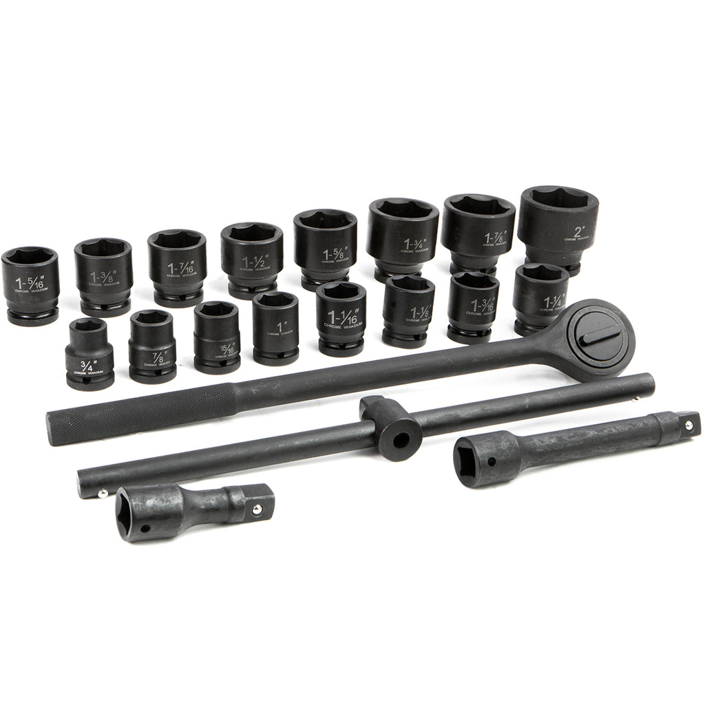 21PC 3/4 DR Inch Drive Tool Black Impact Ratchet Socket Set Standard Size SAE