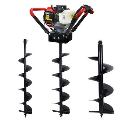 "V-Type 55CC 2 Stroke Gas Post Hole Digger One Man Auger (Digger 6"" 8"" 12"" Bits)"
