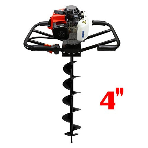 Gas Post Hole Digger w/ Auger Bits - 2 Men 63cc, 4""