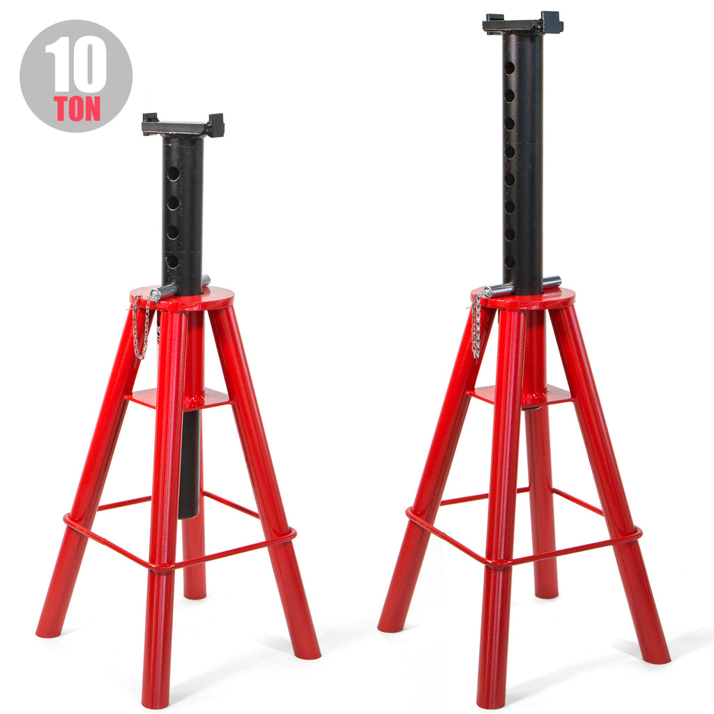 "2PC Heavy Duty Jack Stand Truck Semi Stands High Lift 10 Tons Capacity 18.5 to 30"" Max Lift"