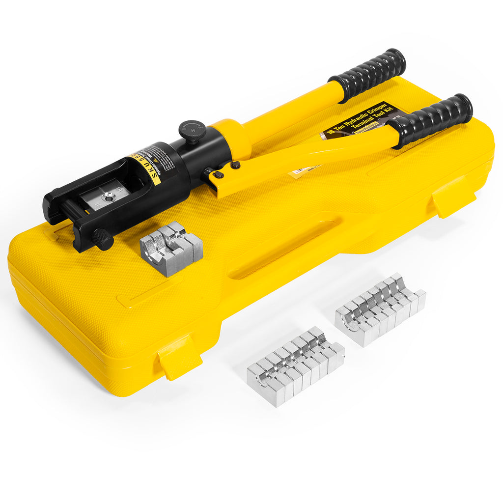 16 Ton Hydraulic Wire Terminal Crimper Battery Cable Lug Crimping Tool w//Dies
